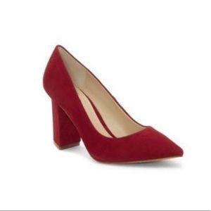 Vince Camuto Suede Maroon Block Heel Pump size 8.5